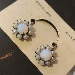 Vintage Sterling Moonstone Screwback Earrings